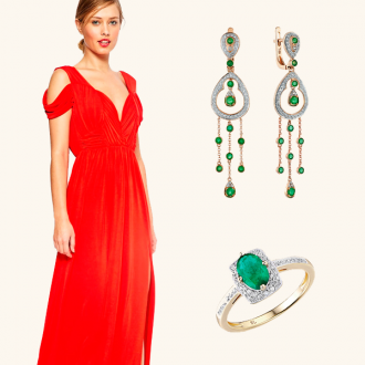 ست لباس قرمز با زیورآلات