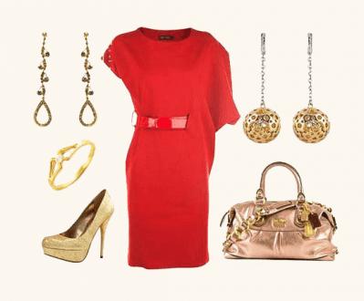ست لباس مجلسی قرمز با زیورآلات طلا