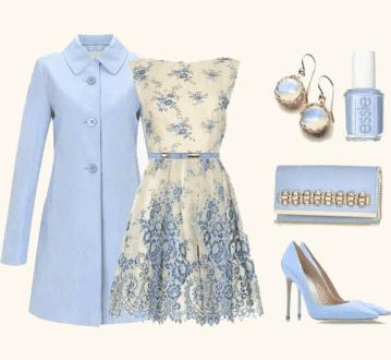 ست لباس مجلسی آبی گل دار با زیورآلات