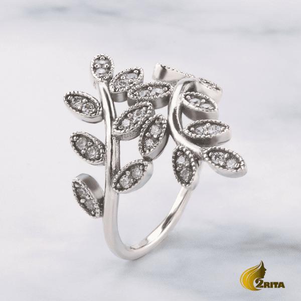 انگشتر نقره زنانه برگ دار