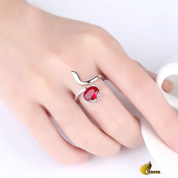 انگشتر زنانه کوپر نگین قرمز
