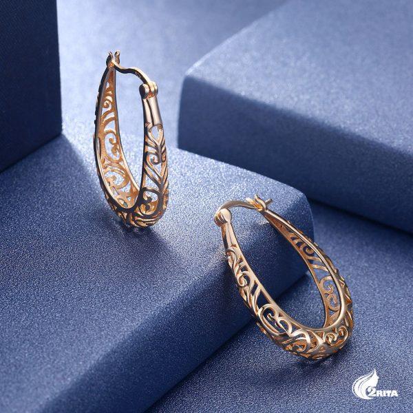 گوشواره نقره حلقه ای طلایی