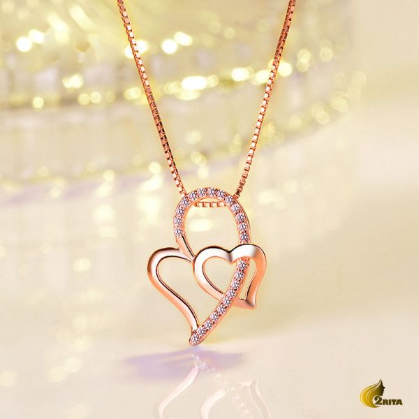 گردنبند رزگلد زنانه قلب