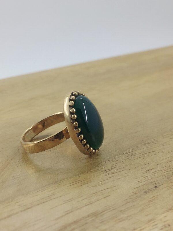 انگشتر زنانه طلاروس عقیق سبز